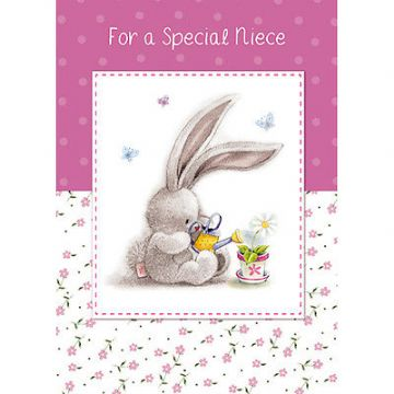 "NIECE BIRTHDAY CARD ""CUTE BUNNY DESIGN"" SIZE 8"" x 5.75""  IRKK 0019"